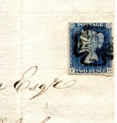 Great Britain Queen Victoria 1841 -  Manchester Fishtail, Maltese Cross 1840 2d blue cover