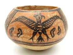 Indus Valley Painted Terracotta Bowl with Birds and Ibex Motif - 110x73mm