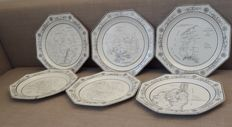 Lot of 6 octagonal decorative plates of the Manufacture of printing on faience porcelain Paris, France, 1st empire (1805-1811)