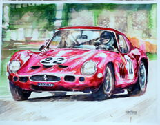 Ferrari 250 GTO - Original Watercolour - 40 x 50 cm - By Gilberto Gaspar