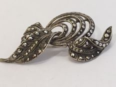 935 Silver handmade Art Nouveau brooch with marcasites, Germany, around 1900