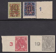 The Netherlands 1923 - Clearance issue and Queen Wilhelmina - NVPH 82/83 + 132/133