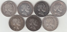 The Netherlands - ½ guilders 1858/1868, Willem III (7 coins) - silver
