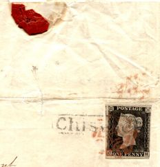 Great Britain Queen Victoria 1841 - Chiswick local 1d black cover - Middlesex