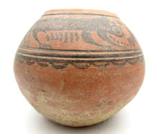Indus Valley Painted Terracotta jar with Monkey Motif - 134x113 mm