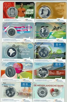 Netherlands – 5 Euro 2012/2017 + 10 Euro 2013 (Total 10 different) in Coincards