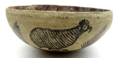 Indus Valley Painted Terracotta Bowl with Birds Motif - 180x82mm