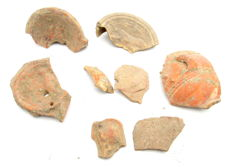 Lot of 10 Ancient Roman Terracotta Fragments with Depictions - 38-65mm