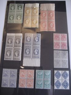 The Netherlands 1913/1923 - Independence, queen Wilhelmina and various depictions - NVPH 82/83, 90/94 and 110/113 in blocks of four