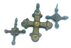 Early medieval bronze crosses, IX-XI century 25x18, 27х21, 38х29 mm with enamel
