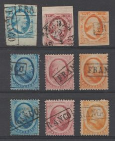 The Netherlands 1852/1868 - King Willem III - NVPH 1/3, 4/6A and 4/6B
