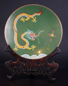 Cloisonné dragon dish - China - mid 20th century (late Republic period)