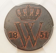 The Netherlands - ½ cent 1851, Willem III - copper