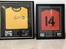 Framed jersey signed by Pelé (Brazil) with an A1 certificate and framed jersey signed by Johan Cruyff (RIP) with an Up North certificate