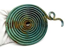 Ancient Bronze Age Spectacle Coiled Pendant - 120 mm