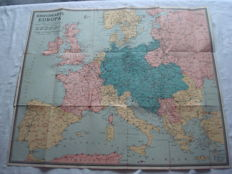 "German Empire; Old original map ""War map of Europe"", with marked war ports, castles and forts of 1915 WW1"
