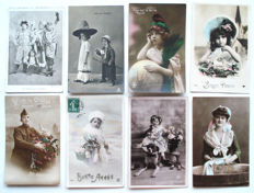 221x fantasy-Romance-couples, children, women, men-many cards hand-coloured.