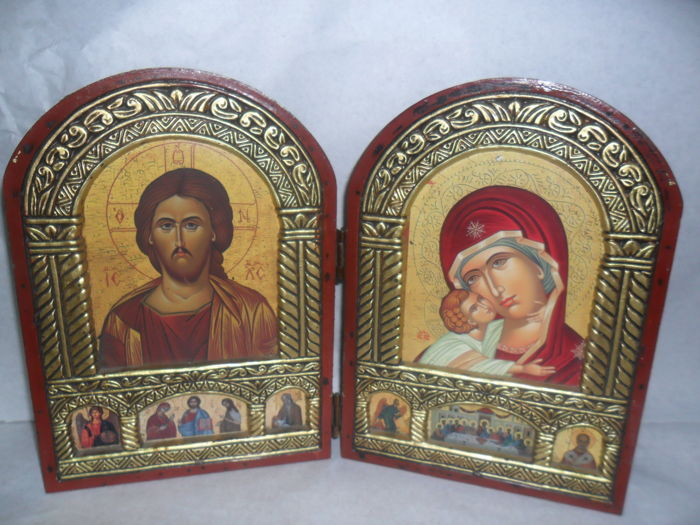 Greek 2-door Relic wood Icon,with wax stamp ,Jesus Christ-Mother of God-Greece