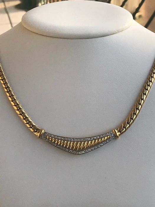 Necklace 18 kt yellow gold and diamonds of .60 ct Top Wesselton size 40 cm