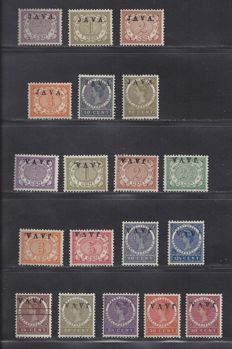 Dutch East Indies 1908 - Overprint deviations JAVA up high and inverted