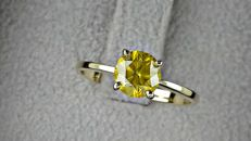1.01  ct Fancy Lemon Round Diamond Ring 14K Yellow Gold - size 7