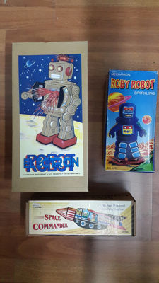 India/China/Germany - Robot Electron + Robby Robot MS 429 + Space Commander 6006
