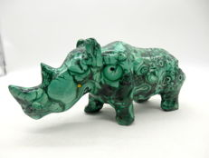 1940´s Green Malachite Carved Rhino - 15.3 x 4.6 x 6.7 cm - 634 g