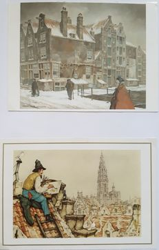 Anton Pieck - 196 mainly Christmas and New Year cards from the 1980s/1990s