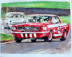 Ford Mustang - Original Watercolour - 40 x 50 cm - By Gilberto Gaspar