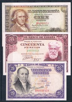 Spain - 25, 50 and 100 Pesetas 1946/48/51 - Pick 130, 137 and 141