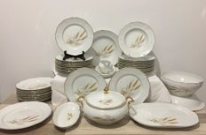 Authentic fine French porcelain service with gilt edges, 44 pieces