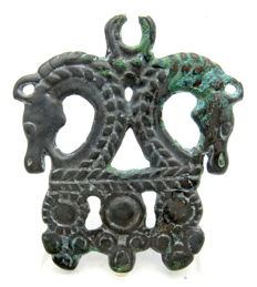 Rare Viking Scandinavian - Bronze Zoomorphic Amulet with Two Dragons - 63 mm