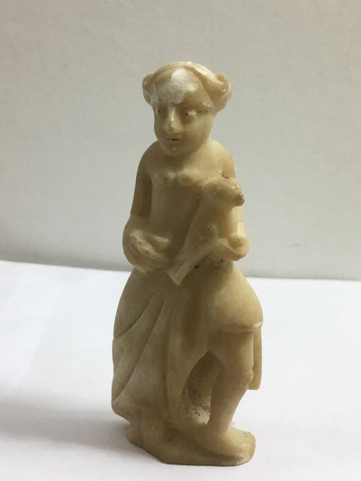 Alabaster Figurine Of A Half-Naked Woman With Bird - Italy -7768
