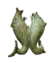 F. (Frederick 'Frits') Sieger (1893-1990) -  'Courting Fish' Amsterdam School bronze sculpture