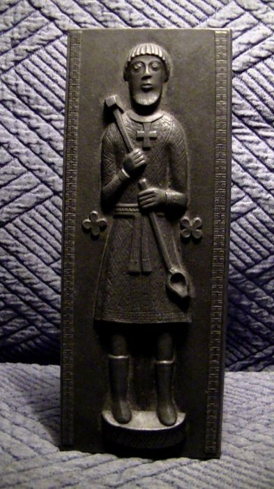 Antique bronze casting, high relief of Buderus depicting the saint - Italy - 20th century