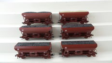 Roco H0 - 46132 - Six self-discharging wagons loaded with coal and gravel of the DB