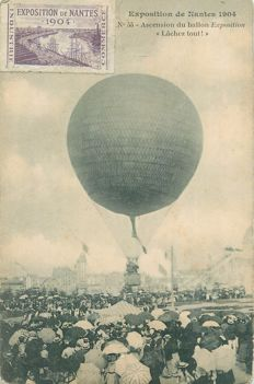 Balloon - Aviation - Aerospace - Lot of 3 old postcards - Exhibition of Nantes in 1904, manoeuvre the balloon from Siège to Mourmelon, history of ballooning - Aerostatic experience in Dijon in April 1784