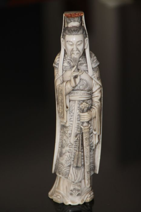 Marked ivory carved statue, old  bearded sage holding a sword - China, circa 1930