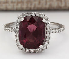 4.62 Carat Rhodolite Garnet And Diamond Ring In 14K Solid White Gold Ring * Free Shipping *** No Reserve *** Free Resizing ***