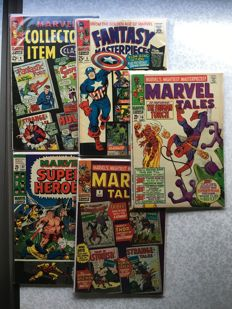 Collection of x5 Silver Age Marvel Comics - Including : Marvel Tales, Fantasy Masterpiece + More - (1968-1969)
