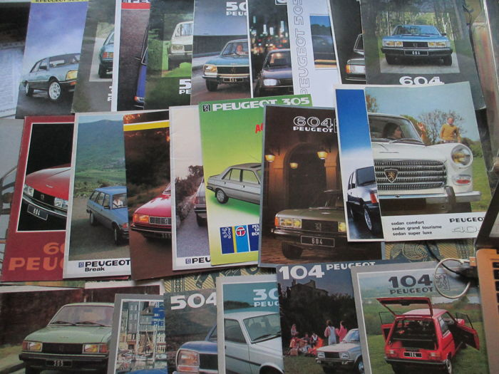 Car brochures (Peugeot, including 104/504/505/604, 25x, 1979-1987)
