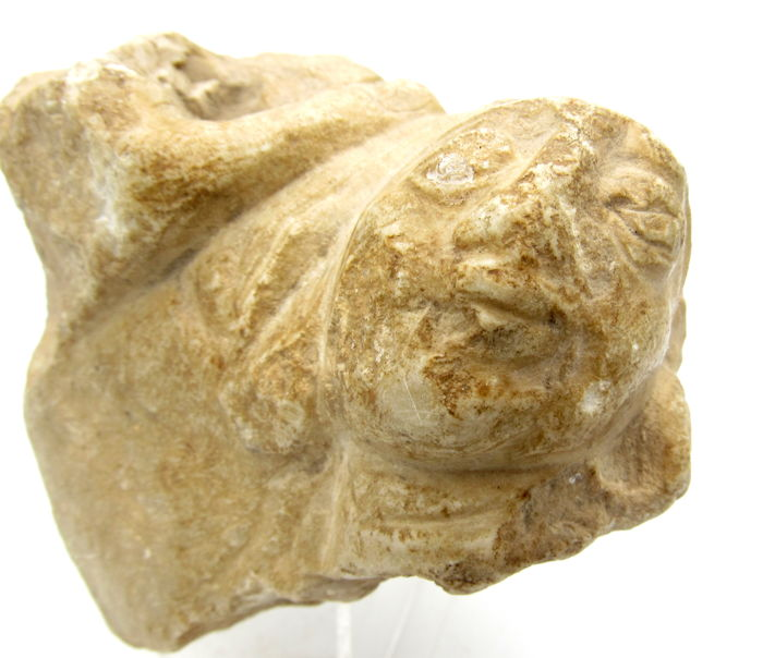 Ancient Gandhara Stone Statue of The Face of a Deity / Goddess - 81mm