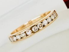 14k 585 Yellow Gold Eternity Ring with Total 0.63ct VS - SI Diamonds - Round Brilliant Cut - Total Weight 2,258gr
