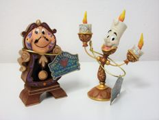 Disney - 2x Figurines - Jim Shore - Disney Traditions - Beauty & the Beast: LUMIERE and Cogsworth (2016)