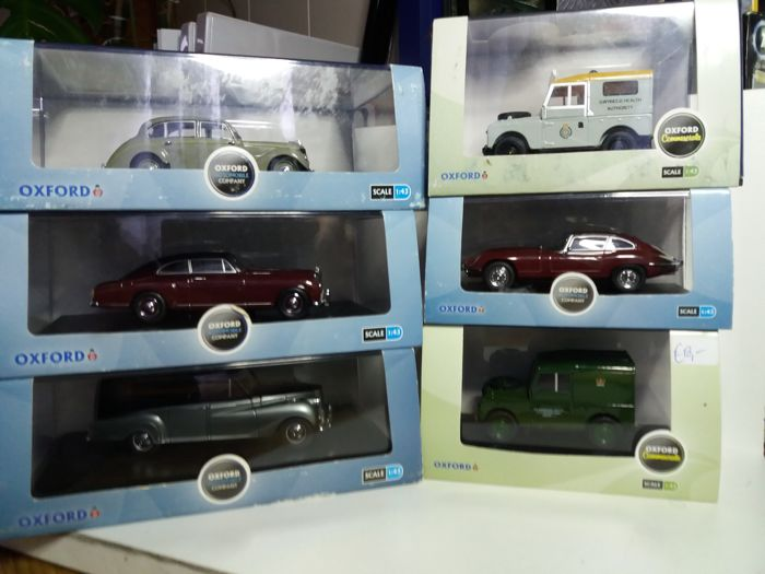 Oxford - Scale 1/43 - Lot with 6 models: 2x Landrover, Jaguar E-Type, Armstrong Siddeley, Bentley Continental & Austin Princess Hearse