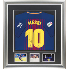Signed Lionel Messi Barcelona 2017-18 Shirt - New Deluxe Framed Display
