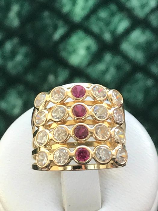 18 kt gold ring set with zirconium oxide - size 5.5/17.1 mm