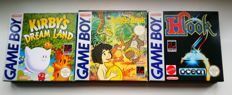 3 boxed Gameboy games - Hook + Jungle Book + Kirby's Dreamland