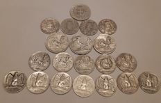 Kingdom of Italy - Lot of 20 coins, 1863-1930 - silver