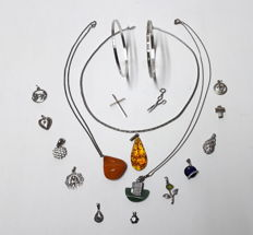 Collection pendant, necklaces and bracelets, silver various stones approx. 1970